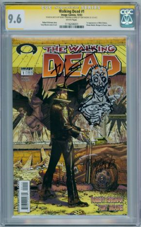 Walking Dead  #1 CGC 9.6  Signature Series Signed & Sketch Robert Kirkman & Tony Moore